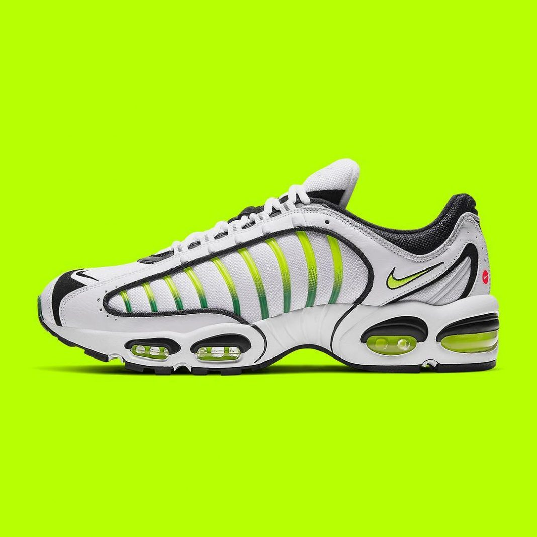 """The Nike Air Max Tailwind IV is returning on April 25th in a spring-ready """"Volt""""..."""