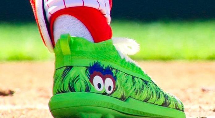Bryce Harper wears Phillie Phanatic Under Armour cleats for his Phillies debut....
